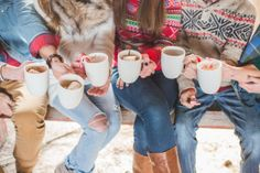 Christmas sweaters & cocoa with candy canes