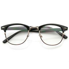 Classic, Vintage Optical RX Clear Lens Clubmaster Wayfarer Glasses from shopzerouv.com