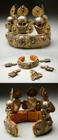 Tibet | Priest's crown; Gilded copper and silver tiara, with inset turquoise & coral stones and skull eyes (painted a metallic red) | ca. 19th century