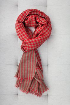 James Cashmere Scarf - Red Plaid | Emerson Fry