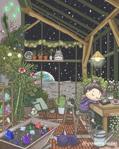 How cute! 😍✨💜 Magic Greenhouse by 🔮 The post How cute! Magic Greenhouse by & appeared first on Home Decor Ideas. Art And Illustration, Aesthetic Art, Aesthetic Anime, Creation Art, Poses References, Kawaii Wallpaper, Anime Scenery, Best Artist, Beautiful Artwork