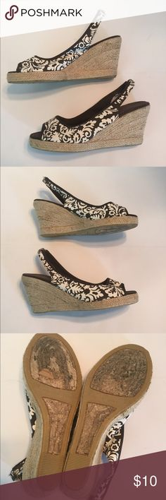 """Montego Bay Club Brown & White Espadrilles Tropical brown and white peep toe wedge espadrilles. Canvas upper. 4"""" wedge heel with 1"""" platform. Insole measures 10.5"""", width is 3.5"""", measured across widest part of the bottom. Montego Bay Club Shoes Espadrilles"""