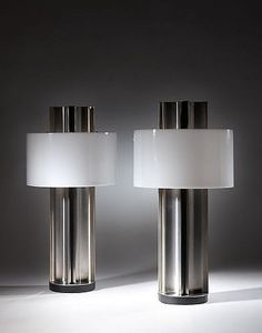 Jacques Charles; Brushed Stainless Steel and Perspex Table Lamps for Maison Charles, c1970.