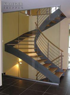 Stahl-Holztreppen vom Treppenspezialisten Steel wooden stairs from the stair specialist Loft Staircase, Modern Staircase, Spiral Staircase, Stair Railing, Staircase Design, Steel Stairs, Wooden Stairs, Attic Remodel, Stairways