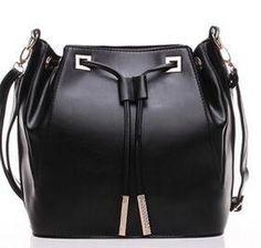 2016 New England fashion boutique style tassel drawstring bag women pu leather bucket bag shoulder diagonal package