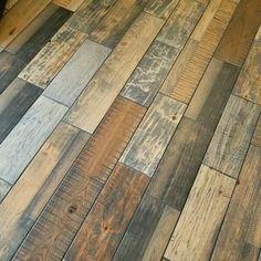Gorgeous barnwood look tile. Pallet Floors, Rustic Wood Floors, Wood Tile Floors, Linoleum Flooring, Wood Look Tile, Vinyl Plank Flooring, Diy Flooring, Wooden Flooring, Tile Bathroom Floors