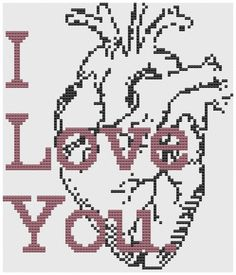 Cross stitch pattern Anatomical Heart Cross Stitch Pattern: I love you.. $4.00, via Etsy.