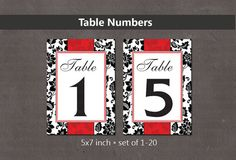 Table Numbers  120 For Your Wedding Reception  by PartyJony, $9.00