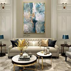 Paintings on canvas Original abstract painting Contemporary art Abstract art Large acrylic painting Abstract painting Gold Blue White Home - Architecture - yacht Home Living Room, Living Room Decor, Salon Art Deco, Flur Design, Elegant Living Room, Modern Living, Home Art, Interior Design, Painting Abstract
