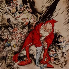 """Here we show a portion of 'He spoke not a word, but went straight to his work ...' - a design by Arthur Rackham from his suite of illustrations published in """"The Night Before Christmas"""" (1931)."""