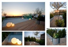 Roof terrace: timber decking/raised metal-clad planters