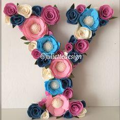 Floral Letter, Felt Flowers Letter, Nursery Decor, Flower Letter Nursery, Wedding Backdrop, Wedding Flowers by juliettesdesigntr on Etsy https://www.etsy.com/listing/588037384/floral-letter-felt-flowers-letter
