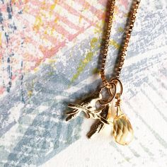 """Etsy のCitrin and Birds charm Necklace """"Lovers"""" k14goldfilled ,charis,japan,gold,pendant,charm, gemstone(ショップ名:CHARISJewelry)"""