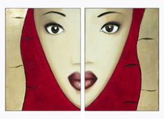 Ethnic Woman Portrait, Woman Art, Face, SEPARATED, Original Art Canvas Painting, Two Mixed Media Paintings, Red Painting Original Fine Art..