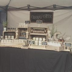 Amazing craft show table setup. Their props, signage, packaging, etc. all have the same vibe and create a clean, cohesive display.good way to show off to clients Market Stall Display, Farmers Market Display, Market Table, Vendor Displays, Craft Booth Displays, Soap Display, Candle Display Ideas, Market Displays, Craft Show Table