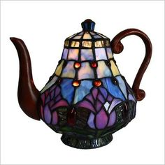 Tulip Teapot Table Lamp Bingli International. Looks like Tiffany.