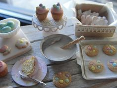 Dollhouse miniature Easter baking set cookies and cupcakes by Kimsminibakery on Etsy