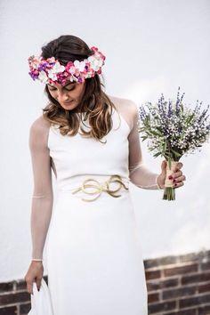 Vestido de Novia Otoñal en crepe de Seda con mangas y estalda en tul de seda!!!!! Cinturón joya de nudos!!!!!!