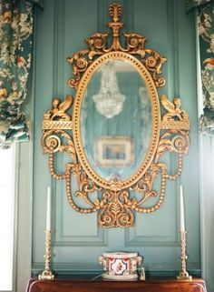 Gorgeous, Turquoise, French Paneling On Walls & Ornate Gold Mirror Ornate Mirror, Vintage Mirrors, Mirror Mirror, French Mirror, Golden Mirror, Gothic Mirror, Vintage Décor, Mirror House, Magic Mirror