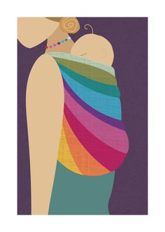 Babywearing Art Print Back Carry Northern Lights Baby Sling Giclee Art Print Gift - pinned by pin4etsy.com