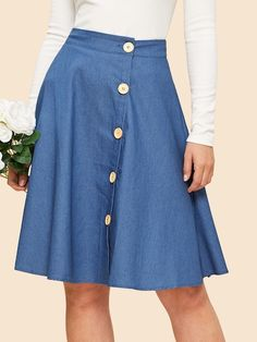 To find out about the Button Up Circle Skirt at SHEIN, part of our latest Skirts ready to shop online today! Blouse Dress, Dress Skirt, Midi Skirt, Skirt Outfits, Cute Outfits, Stripe Skirt, Fashion News, High Waisted Skirt, Couture