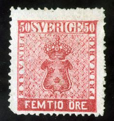 SWEDEN Scott #12 Rose 50 ore 1858 coat of arms M H OG perf 14 minor flaw cat 290