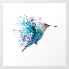 HUMMING BIRD SPLASH Art Print by John Gray | Society6