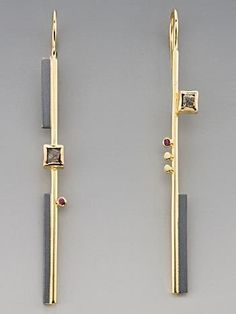 Earrings | Janis Kerman. 18k, sterling with patina, diamonds, pink sapphire
