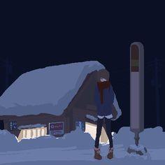 冬のバス待ち Bus wait Pixel Art, Arte 8 Bits, Cool Backgrounds Wallpapers, Videos Anime, 8 Bit Art, Pixel Animation, Cool Animations, Chibi, Anime Scenery