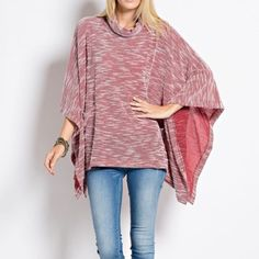 """Asking for Roses"" Poncho Cowl Neck Cape Top Red cowl neck poncho cape top. Casual but oh so chic! Brand new. True to size. NO TRADES. Bare Anthology Tops Tees - Short Sleeve"
