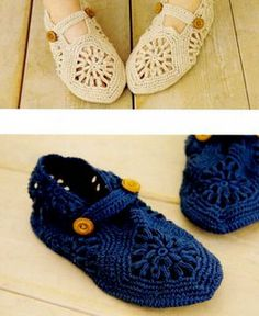 crocheted slippers/shoes......need to figure out the pattern...it's not in english !!!