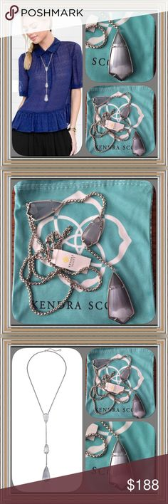"NWT Kendra Scott Charlotte in Slate Cats Eye This is such a stunning necklace from Kendra!!!  Necklace is brand NWT and comes with the signature Kendra dust pouch.  Add a new Kendra Scott silhouette to your jewelry box with this delicate Y-chain necklace studded with beautifully faceted pieces of slate cats eye.  Necklace features 22"" length; 2"" extender; 8"" drop, lobster clasp closure and rhodium plated.                             No trades!  No paypal!!  ❣️❣️ Kendra Scott Jewelry…"