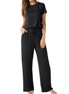 0bb48ecbdbb Casual Round Neck Short Sleeve Elastic Waist Wide Leg jumpsuit Womens  Jumpsuits