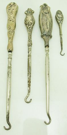 LOT 5 VTG Antique Victorian Art Nouveau Fairy Lady Sterling Silver Button Hooks #MixedLots