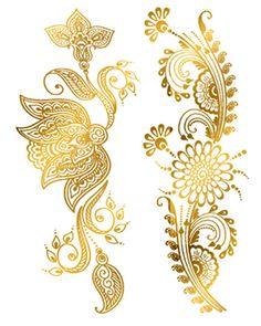 Golden Henna Flowers Tattoos   TattooForAWeek.com - Temporary ...