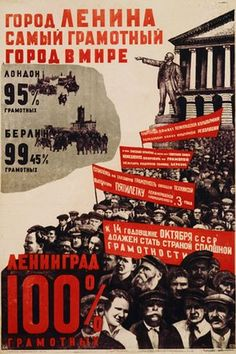 This poster from 1932 celebrates literacy in Lenin's City. Photograph: Swim Ink…