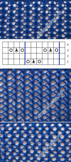 Узор 518 ажурная сетка| каталог вязаных спицами узоров
