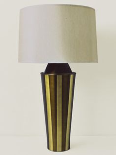 All Babette Holland lighting is great fun.  Here's just one example: Gemini table lamp in olive stripe.