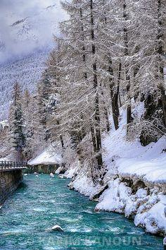 Fine Art Prints Gornera river and snowy forest - Zermatt Photographe Lausanne
