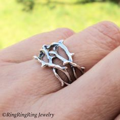 Thorn ring Unique ring jewelry Sterling silver ring Woven crown of thorns Tree…