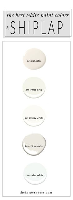 best white paint colors to paint shiplap; sherwin williams alabaster | www.theharperhouse.com by leigh Neutral Paint Colors, Interior Paint Colors, Best Bedroom Paint Colors, Favorite Paint Colors, Cabinet Paint Colors, Best Dining Room Colors, Paint Colors For Living Room, Paint Colors For Home, Wall Colors