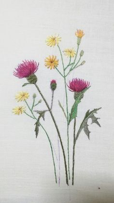 Summer Spray - Blackberry Lane Brazilian Embroidery EdMar thread packet only - Embroidery Design Guide Embroidery Flowers Pattern, Paper Embroidery, Japanese Embroidery, Hand Embroidery Stitches, Silk Ribbon Embroidery, Crewel Embroidery, Hand Embroidery Designs, Embroidered Flowers, Floral Embroidery