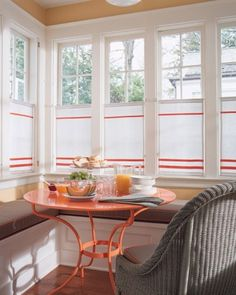 """See the """"Tangerine"""" in our  gallery - round table in sunroom."""