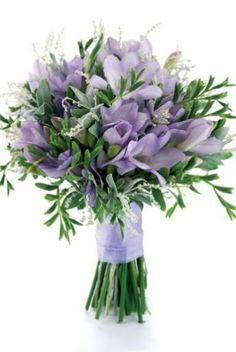 purple freesias and eucalyptus