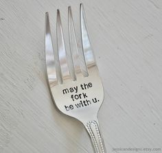 May The Fork Be With You - Large Hand Stamped Grilling/Serving Fork For Star Wars Lovers (TM) -Humorous Geek Gift. $22.00, via Etsy.