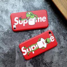 シュプリーム supreme iphone8 ケース ブランド iphoneX カバー アイフォン7 面白い パロディ風 可愛い カエル レッド 極薄 マット感