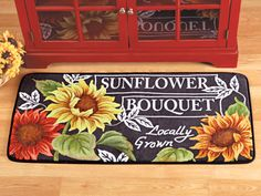 Floral Sunflower Bouquet Cushion Rug