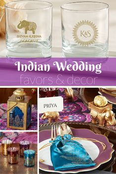Vibrant jewel tones and glistening gold come together for beautiful Indian inspired wedding favors and decor.   @MyWeddingFavors   Indian Wedding   South Asian Wedding