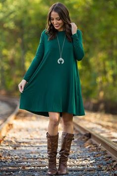 d40934207a0 The Perfect Piko Long Sleeve Swing Dress-Forest Green