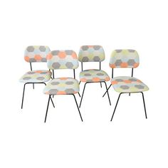 Image Of Mid Century Metal Upholstered Dining Chairs